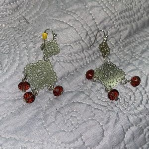 Silver & brown dangling earrings